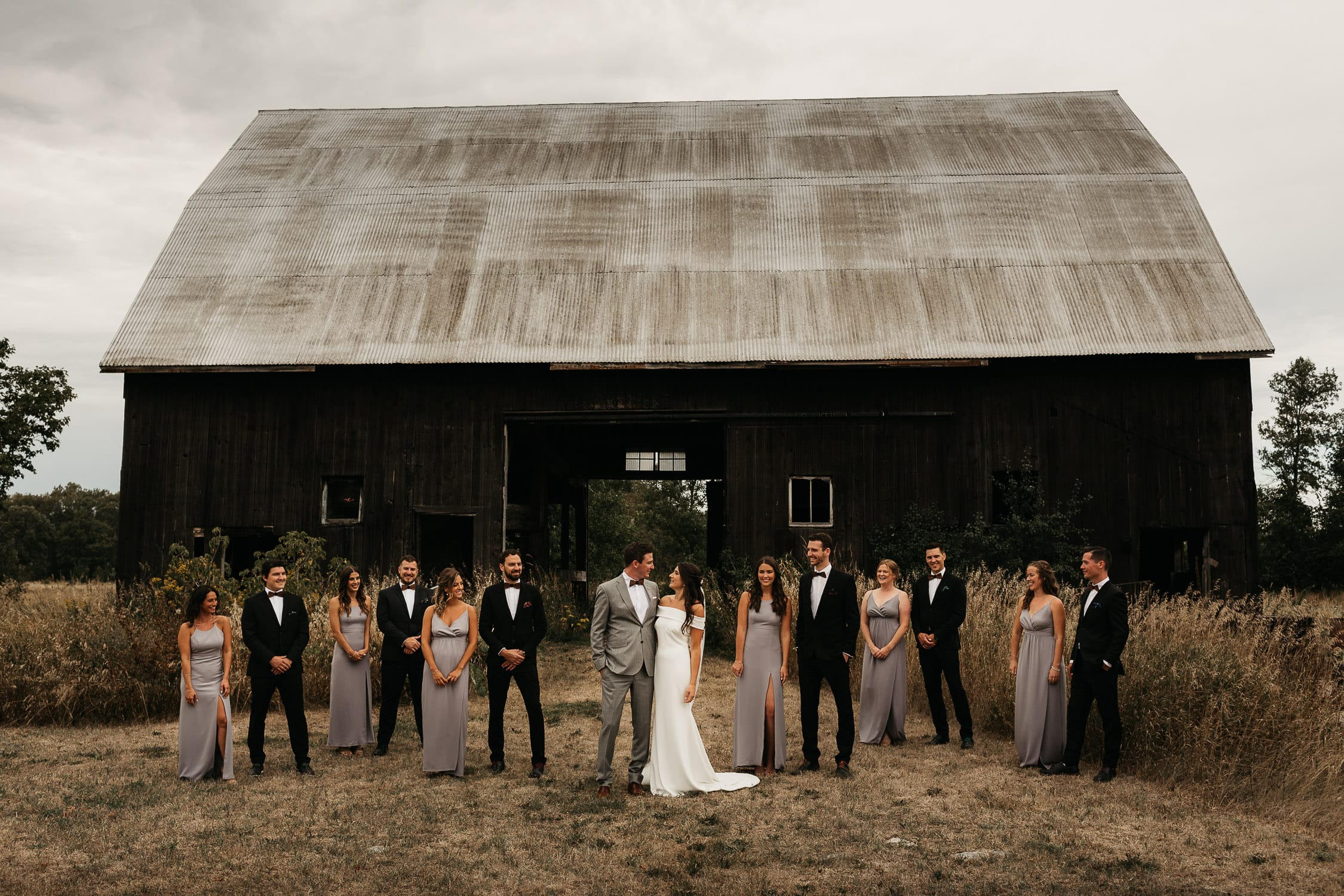 wedding party portrait at waupoos farmhouse